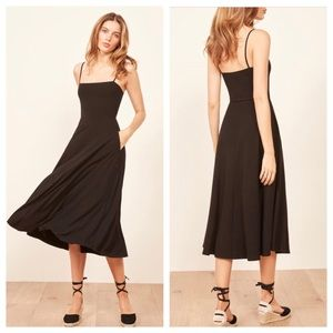 REFORMATION Bettie Ribbed Fit & Flare Midi Dress M